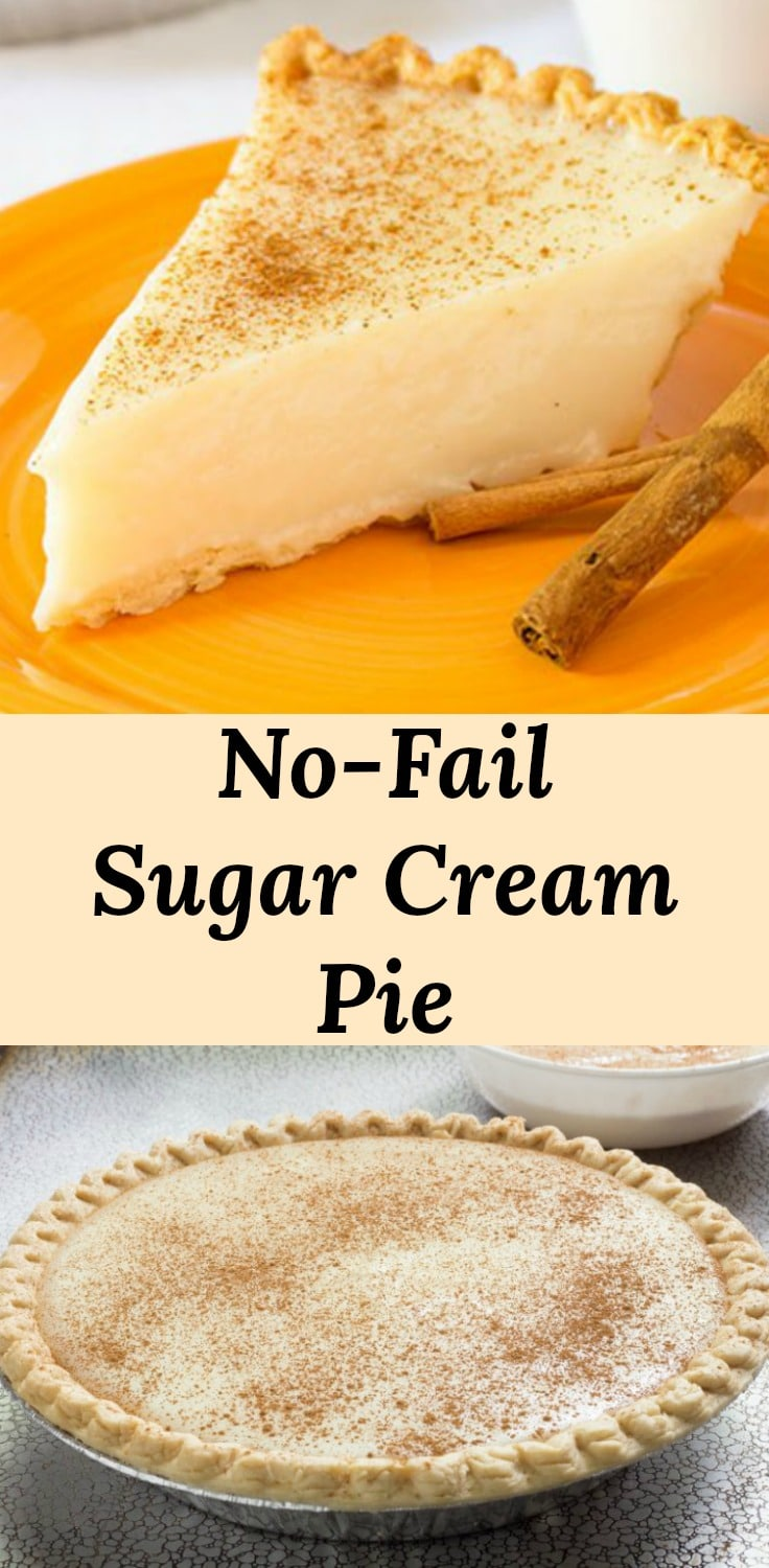 No-Fail Sugar Cream Pie Recipe produces a creamy egg-free custard filling.  Sugar Cream Pie is easy to make and delicious.  This is perfect for beginners since it is sure to set-up.  We call this one no-fail. #recipes