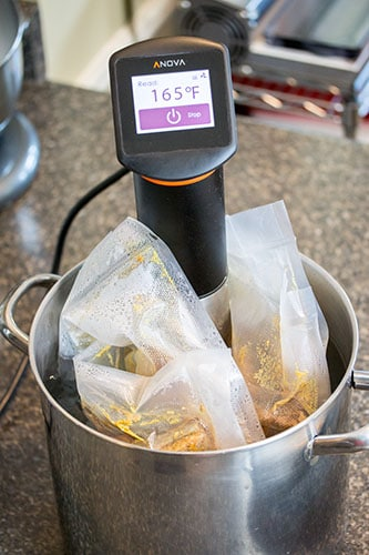 Sous Vide Machine in pot with Baby Back Back ribs in sealed bags