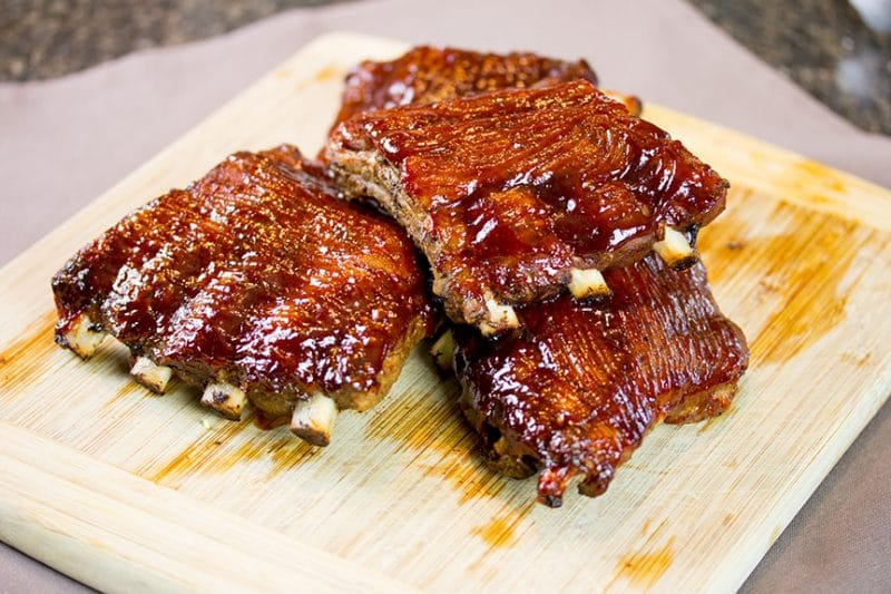 Sous Vide Baby Back Ribs on cutting board