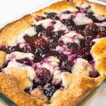 Blackberry Fruit Cobbler in glass 9 X 13 pan