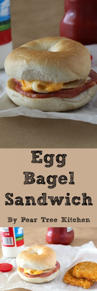 Egg Bagel Sandwiches. Toasted Bagels with Canadian Bacon, Egg, and Cheese. Perfect as a breakfast sandwich, quick dinner, or midnight snack.