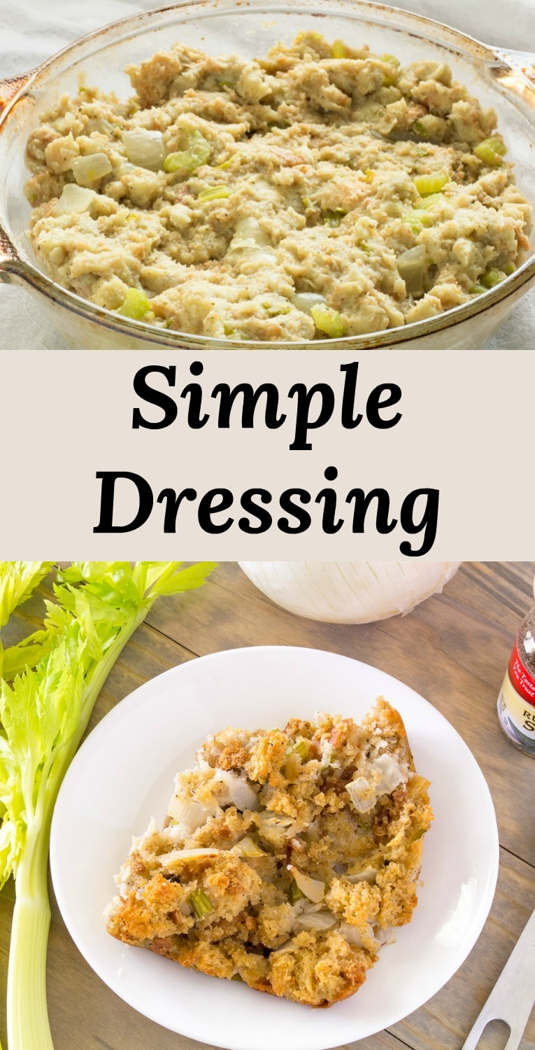 Ditch the Box! This simple turkey dressing recipe is all you'll ever need!  Only takes 6 ingredients to make the best holiday stuffing recipe.