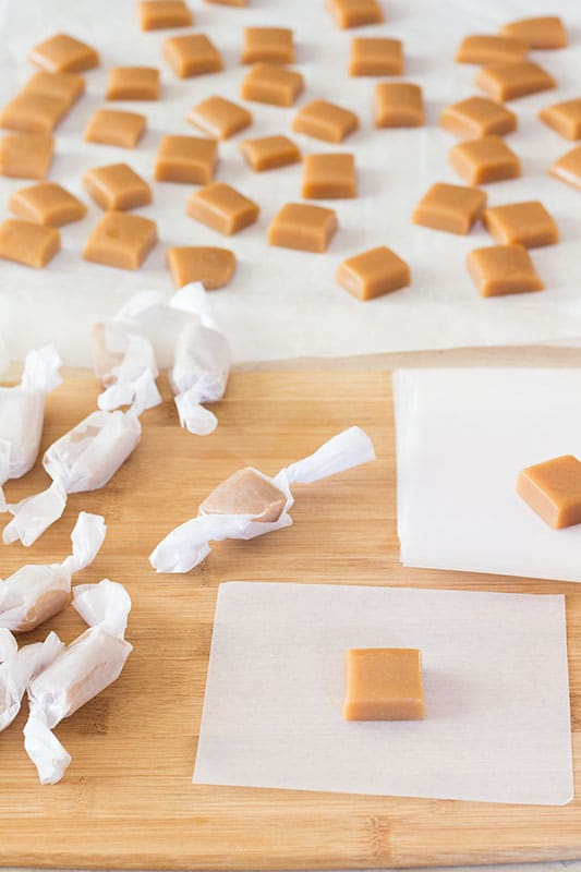 Caramel Candies on white wrappers