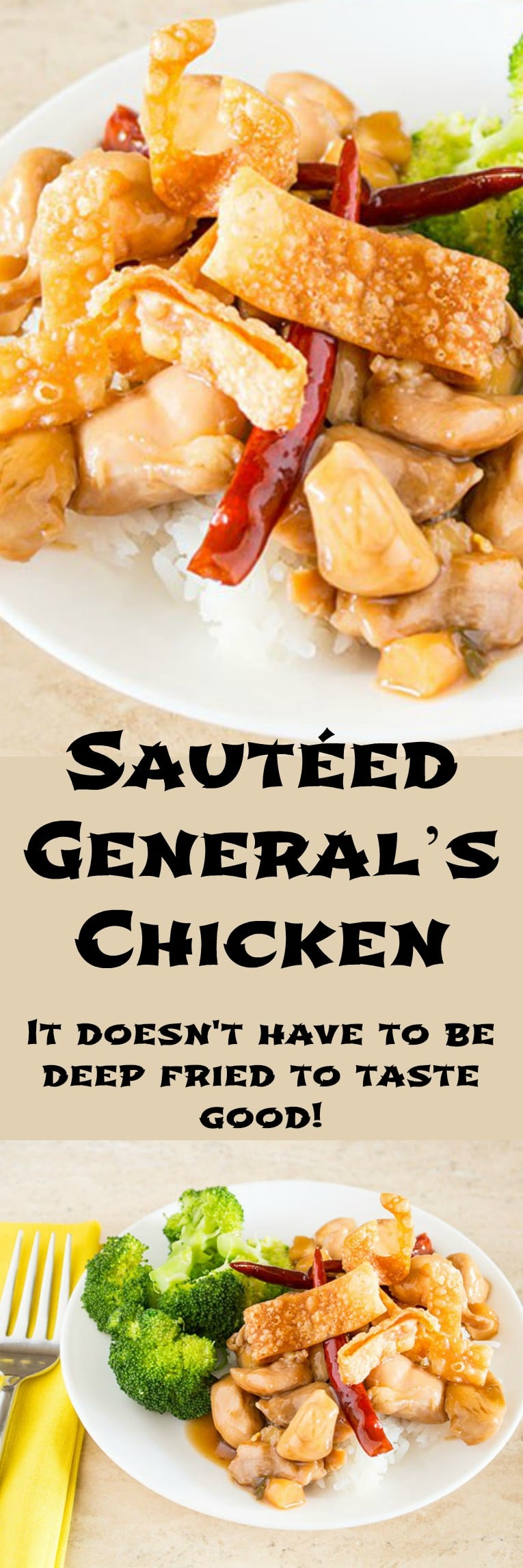 Sauteed General's Chicken is lightened up version of spicy but kind of sweet General Tso's Chicken. This one is sauteed rather than deep-fried.