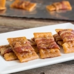 Close-up Sweet Bacon Crackers on white plate