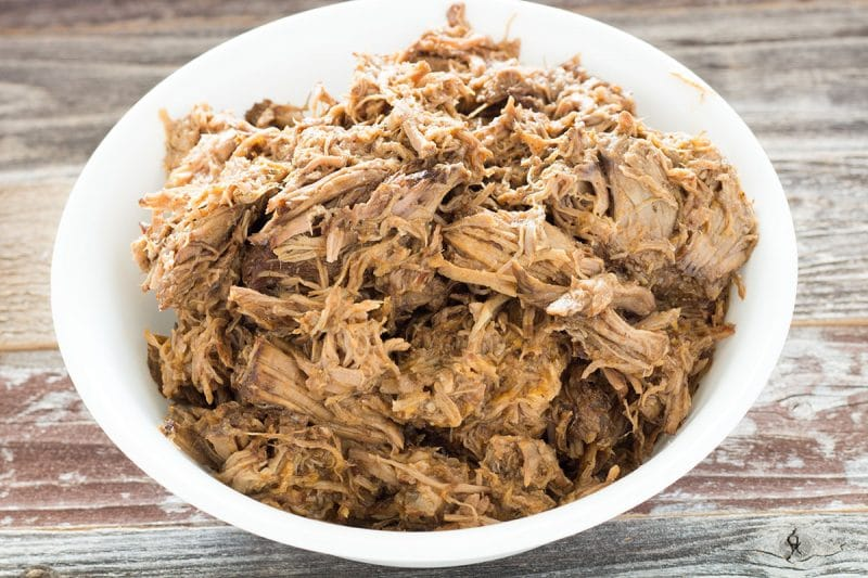 Closeup Beef Barbacoa in white bowl