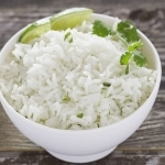 Closeup Cilantro Lime Rice in White Bowl
