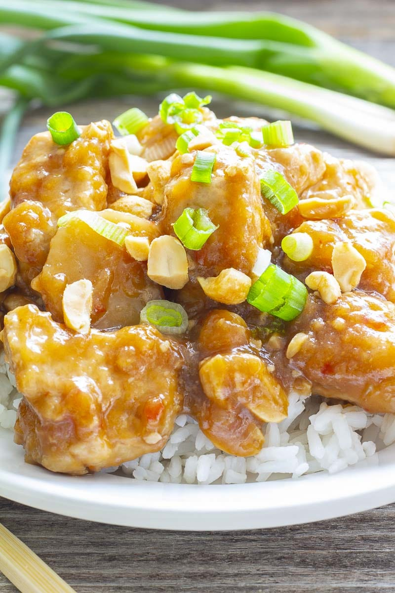 Kung Poa Chicken topped with green onions on rice
