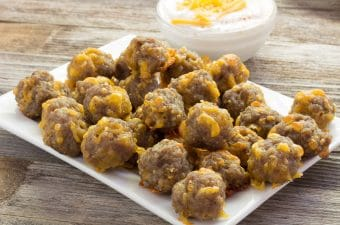 Close-up baked Bisquick sausage cheese balls