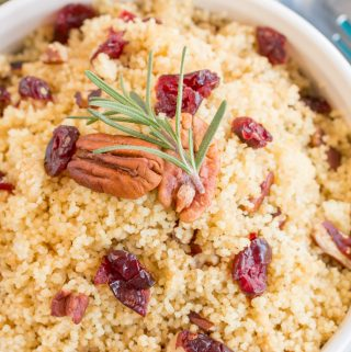 Close-up Meal Prep couscous with pecans and cranberries
