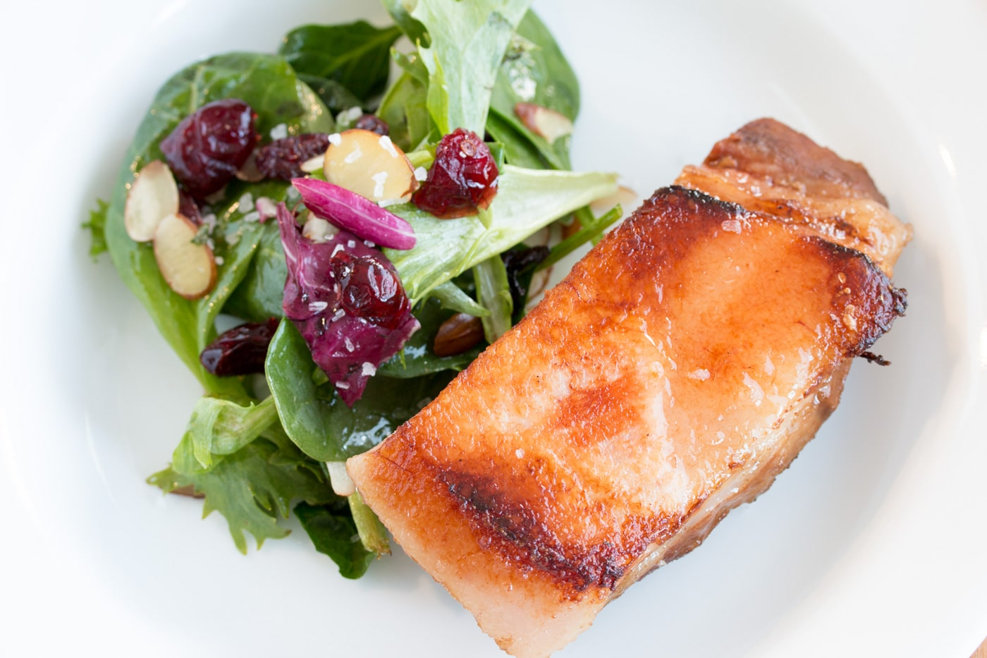 Sous Vide Pork Belly with a salad