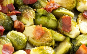 Brussels sprouts topped with bacon pieces