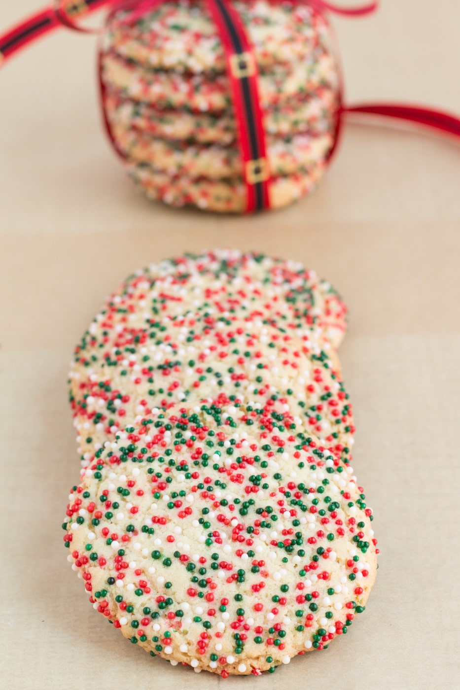 Cookies coated in Christmas Sprinkles