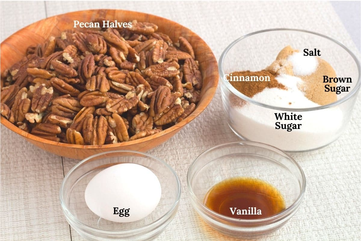 Ingredient for cinnamon roasted pecans in bowls and labeled
