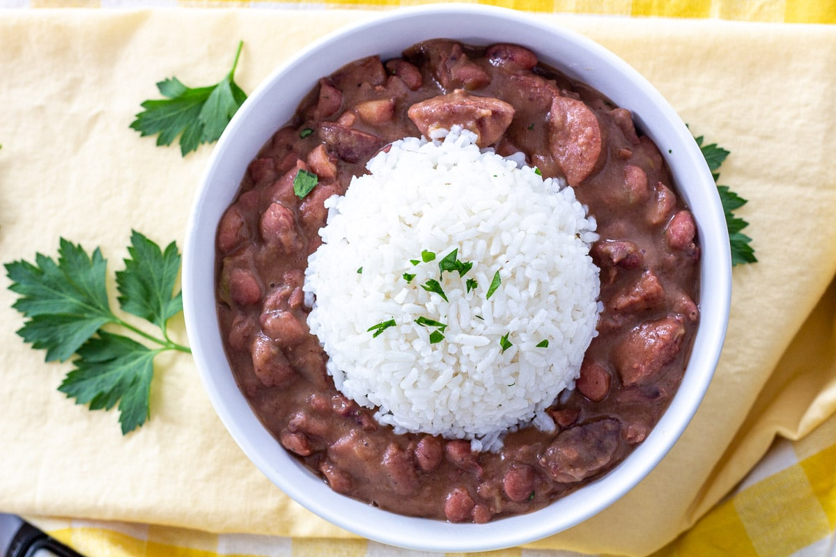 Overhead view red beans with rice
