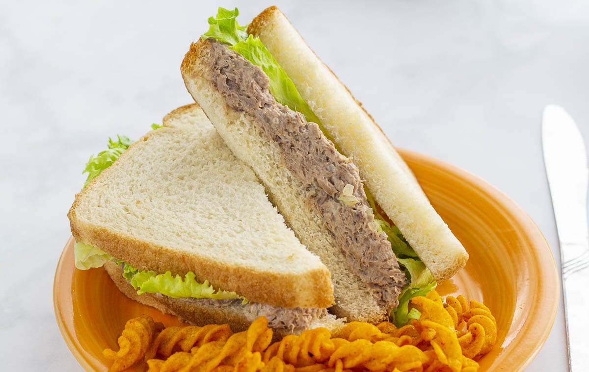 Beef Salad Sandwich with lettuce on an orange plate with twisted corn chips