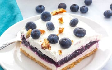 Slice of blueberry delight on a plate