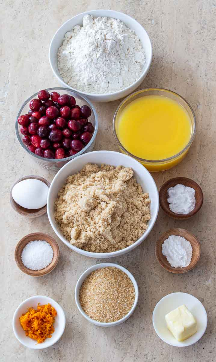 Ingredients for Cranberry Orange bread in bowls