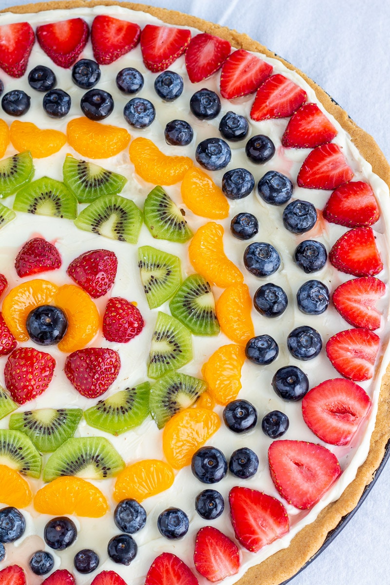 Overhead view of fruit pizza